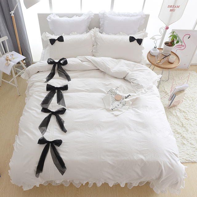 Neue Bettwäsche Set Baumwolle Bettwäsche Spitze Bettbezug Flache