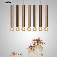 Diameter 6cm Gold LED Pendant Lamp Modern Kitchen Lamp Dining Room Bar Counter Shop Pipe Pendant Down Tube office Spot Light