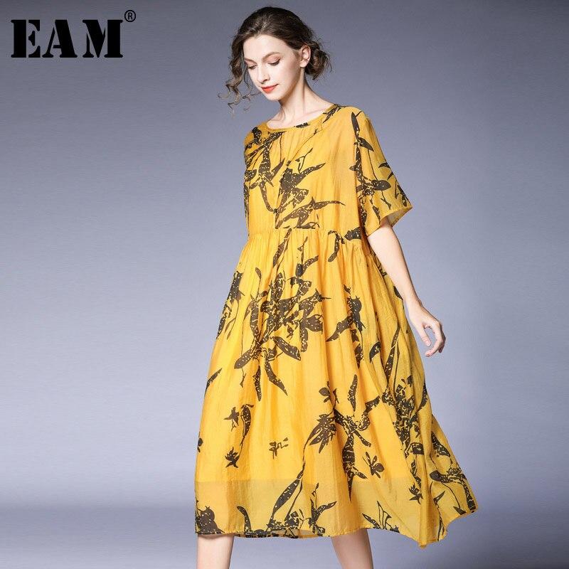 [EAM] 2019 nouveau printemps été col rond manches courtes motif imprimé lâche grande taille tempérament robe femmes mode marée JT921