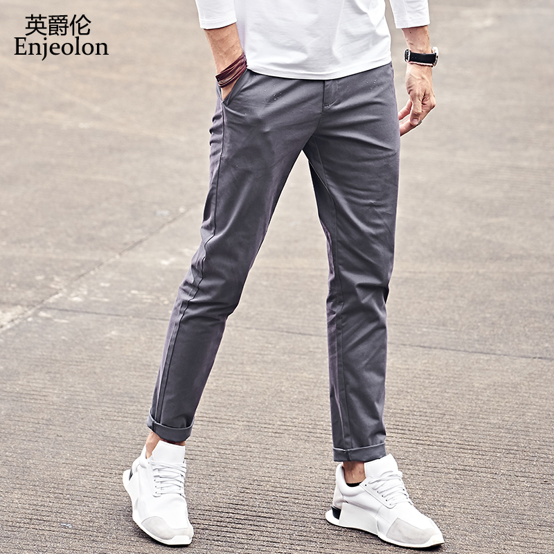 Enjeolon Brand Long Trousers Pants Men Casual Pants Straight Men Pants 5 Color Solid Trousers Men Fashions Clothing KZ6150