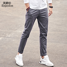 Enjeolon Brand Long Trousers Pants Men Casual Straight 5 Color Solid Fashions Clothing KZ6150