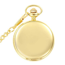 37.5cm Chain Gold Bronze Polishing Pocket Watch Quartz Movement Clock Necklace Pocket & Fob Watch Pendant Sweater Chain Women