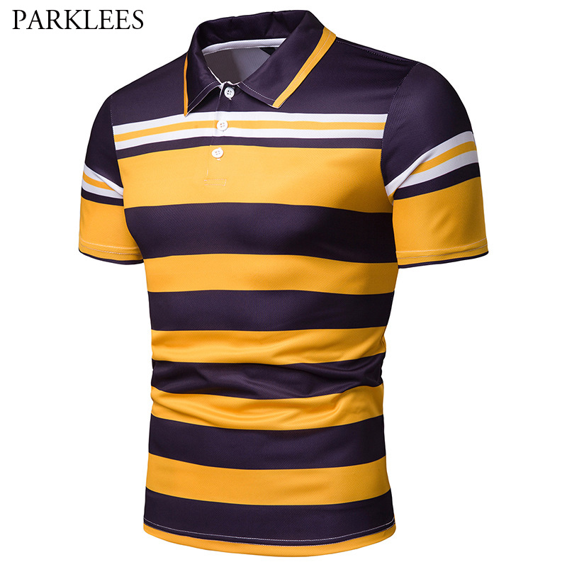 Men's Slim Fit Hit Color Striped   Polo   Shirt 2019 Summer New Short Sleeve   Polo   Shirt Men Hipster Casual Cotton   Polos   Hombre XXL