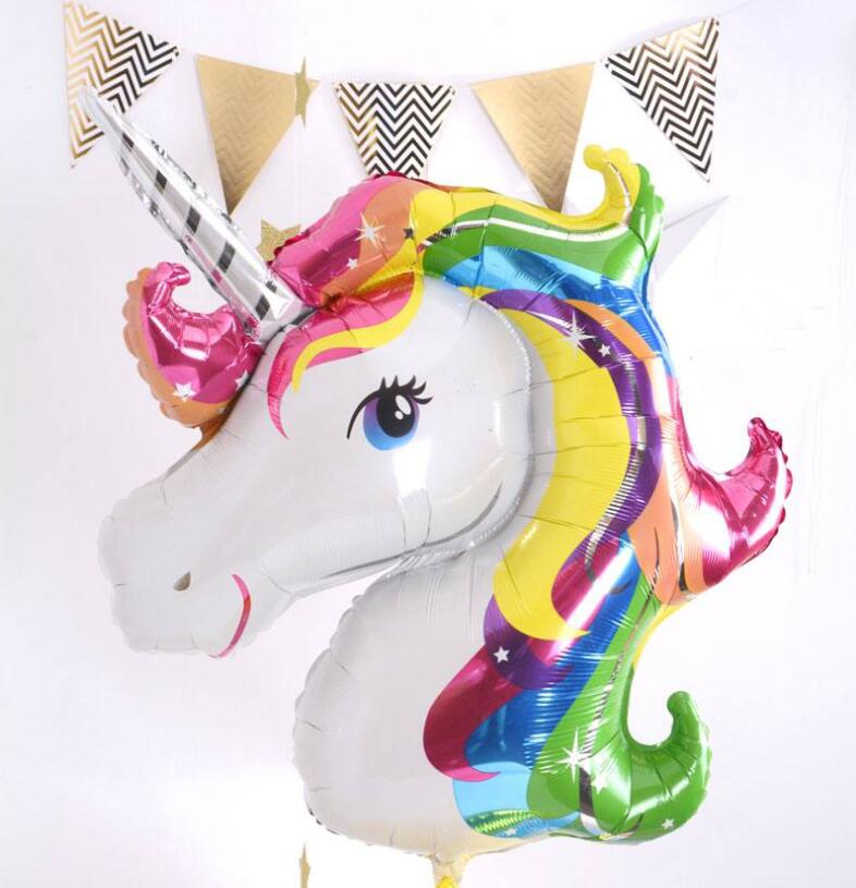 Christmas 1pcs Rainbow Unicorn Foil Balloons Air-filled Ballon for Kids Birthday Party Supplies Baby Shower horse Halloween ball