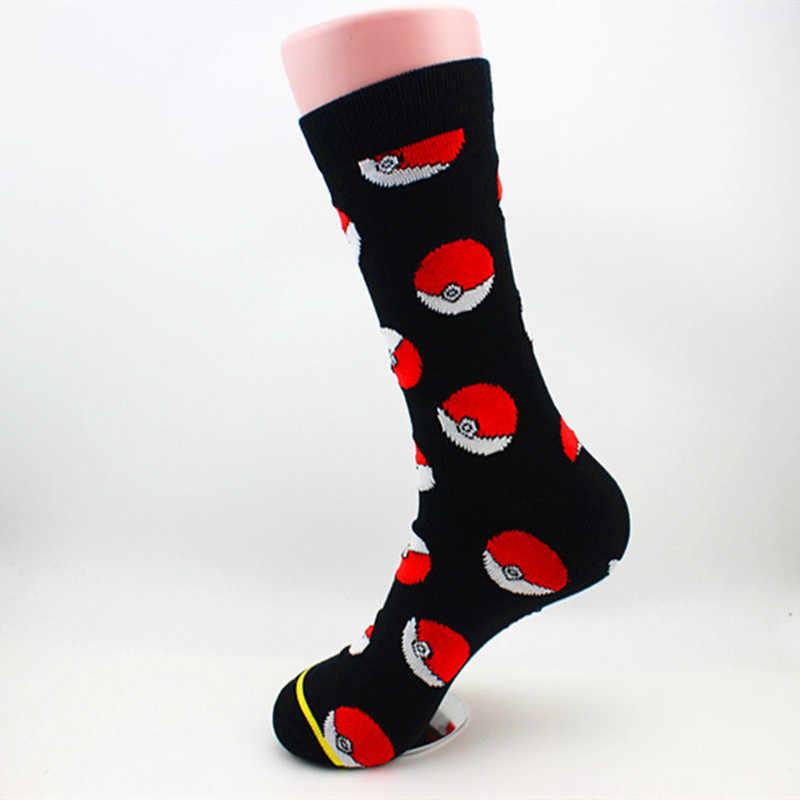 Красный классический шар с покемоном Носки Повседневное модные забавные мужские унисекс носки противоскользящие, высота до середины голени, Носки лучшие продажи 2018