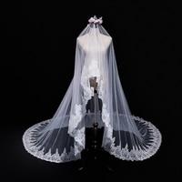 Hot 2018 nieuwe real bruid masker sluier 3 Meters Wit & ivoor Pailletten Blings Fonkelende Kant Rand Purfle Lange Bruiloft Sluier customiza
