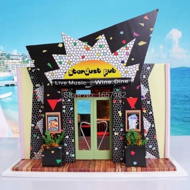 Stardust Samba Estilo Pub Mini Bar DIY Casas De Bonecas Em Miniatura 3D LED  Parede De