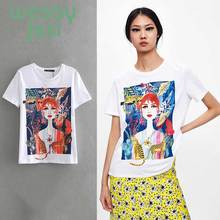 2019 t-shirt women england style cotton Casual White Cotton T-Shirt Women short sleeve print t shirt tops
