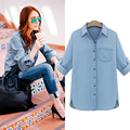 European 2017 spring women denim blusa high quality fashion all match thin shirts long sleeve turn down collar girl blouses E401