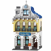 Enlighten City Series Sunshine Hotel houses town Hall Building Blocks Model Sets Bricks Educational Toys for Children gift цены онлайн