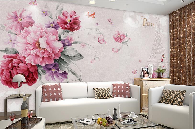 European Bedroom Wallpaper Photo painted flower Paris Tower Pink 3D Wallpaper For Living room Papel de Parede vacation