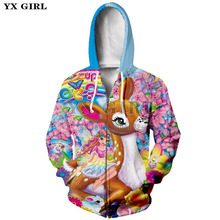 2018 Women Fashion Clothes Zip up Jacket Cute Cartoon Animal Dolphin/Deer/Tiger/Cat/Unicorn 3d Print Zipper Hoodies Dropshipping