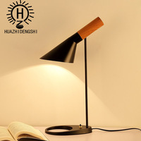 contracted and contemporary personality imitation solid wood bed office study led the desk lamp that shield an eye