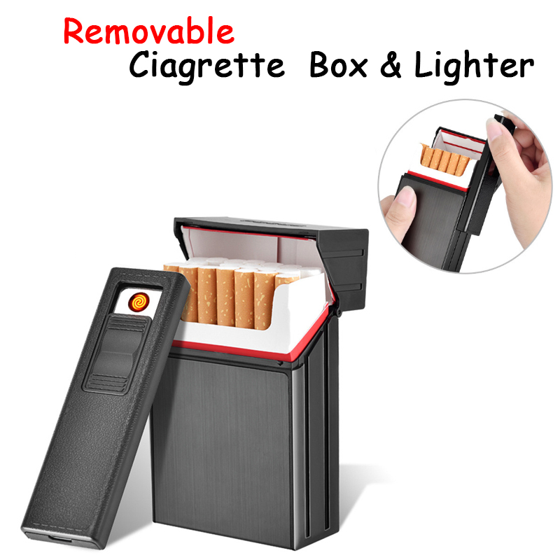 Outdoor Windproof Ciagrette Holder Box with Removable USB Electronic Lighter Flameless Tobacco Cigarette Case Lighter|Self Defense Supplies| |  - title=