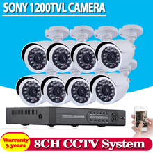 Big promotion 8pcs White bullet Security Cameras 1200TVL with 8 channel 960h DVR system hdmi 1080p