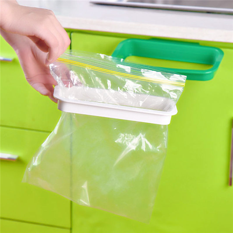 Hanging Kitchen Cupboard Door Back Style Stand Trash Garbage Bags Storage Rack Holder 21.5x12.2x3.3cm Kitchen Accessories