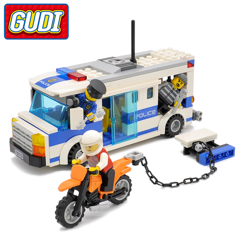 GUDI Legoingly Car City Police PrisoneR Vehicle Block 204pc Bricks Building Blocks Classic Educational Toys For Children gudi block city large passenger plane airplane block assembly compatible all brand building blocks educational toys for children