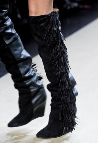 Women Knee High Suede Fringe Boots Black/White/Gray Platform Wedged Tall Boots New Brand Fashion Women Motorcycle Tassel Boots stylish women s knee high boots with tassel and black design