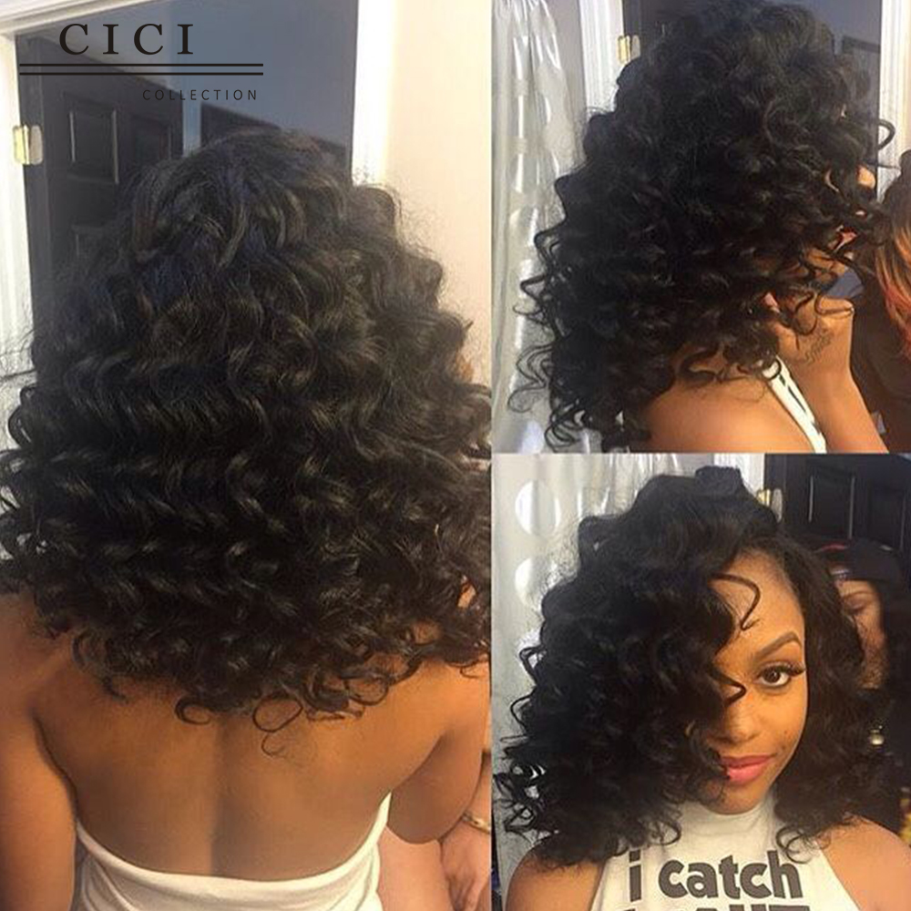 deep body wave short wet and wavy lace front wigs for black women