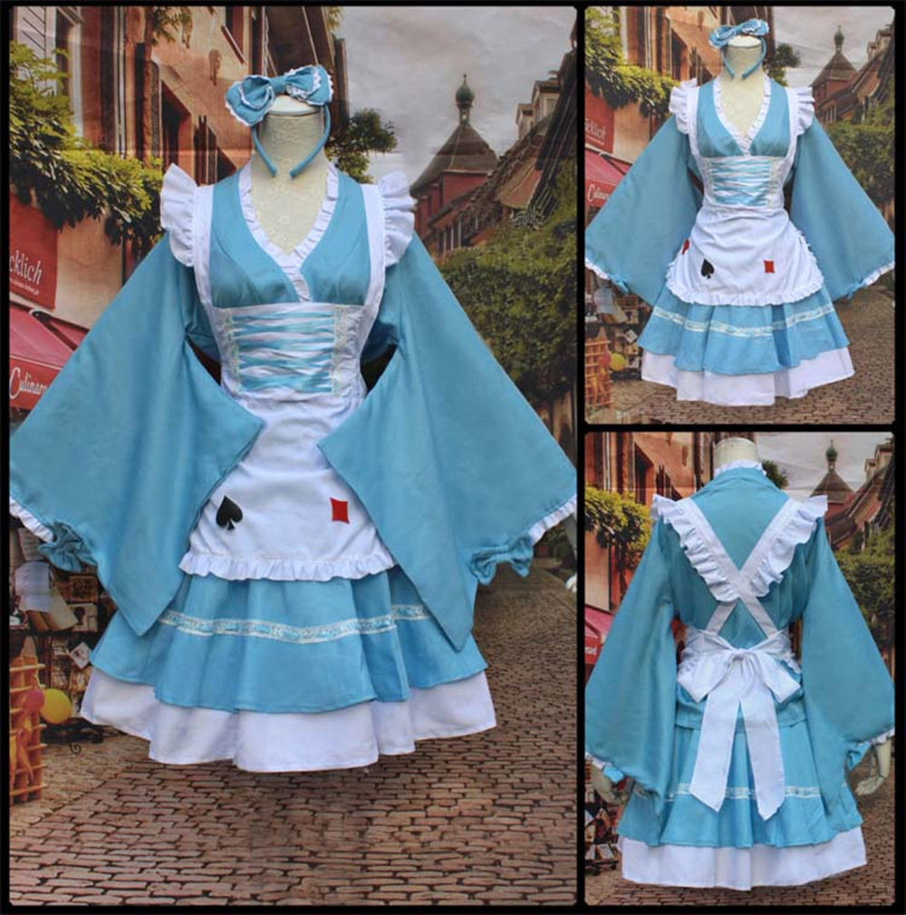 New Japan Anime Kimono Furisode Fashion Alice in Wonderland Cosplay Blue Lolita Maid Dress In Stock