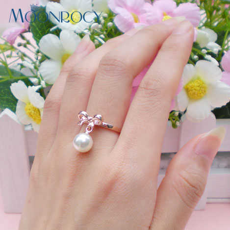 MOONROCY จัดส่งฟรีกุหลาบสีทองเลียนแบบไข่มุกคริสตัลแหวนแฟชั่นเครื่องประดับสำหรับผู้หญิงของขวัญ