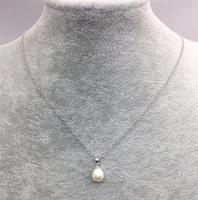 100% Real Pearl Jewelry,Rice Shaper 925 Silver Chain Necklace Natural Freshwater Pearl Necklace