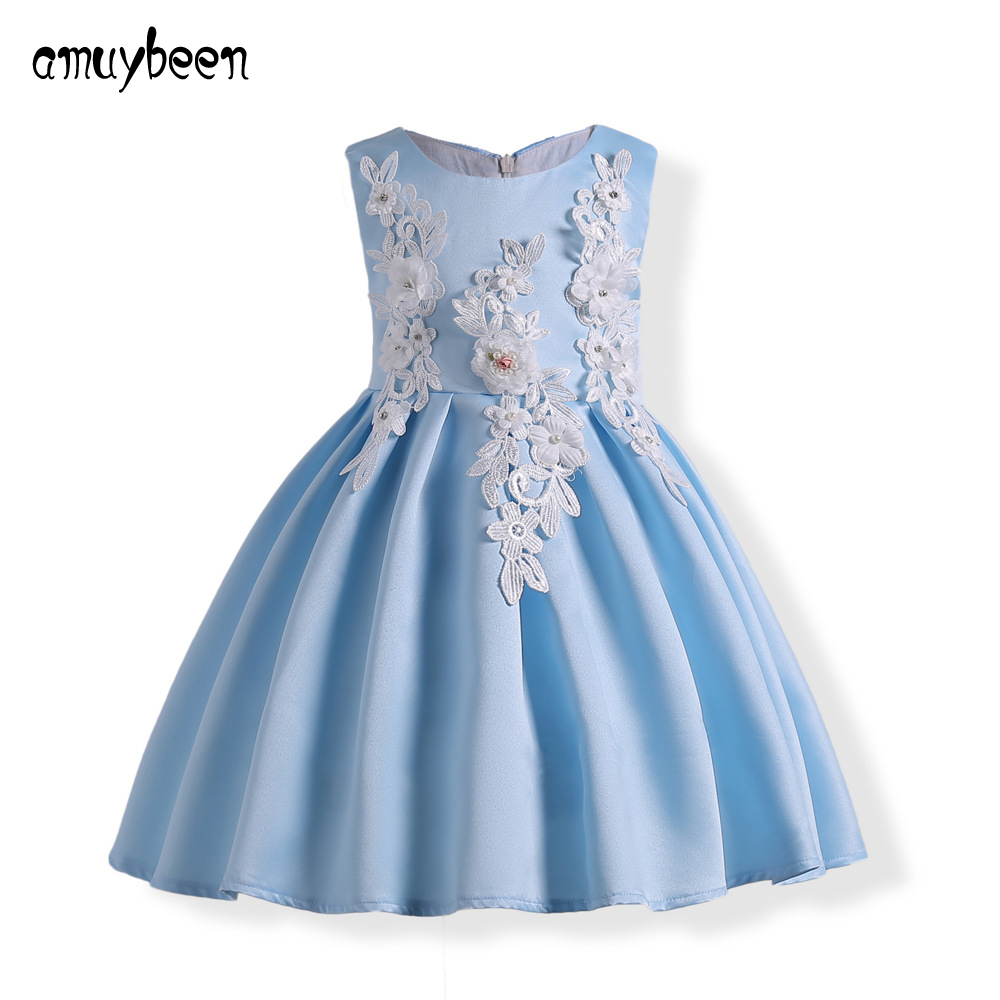 New Year Girls Dress Lace Flower Children Wedding Party Dresses Kids ...