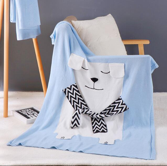 110*130CM Cotton Knitted Throw child baby Blanket blanket throw Home Cover cartoon bear home travel bed sofa wholesale FG712