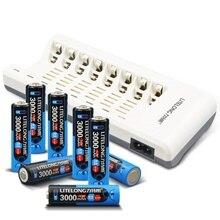 8 шт. aa 3000 мАч ni-mh аккумулятор + aa aaa зарядное устройство
