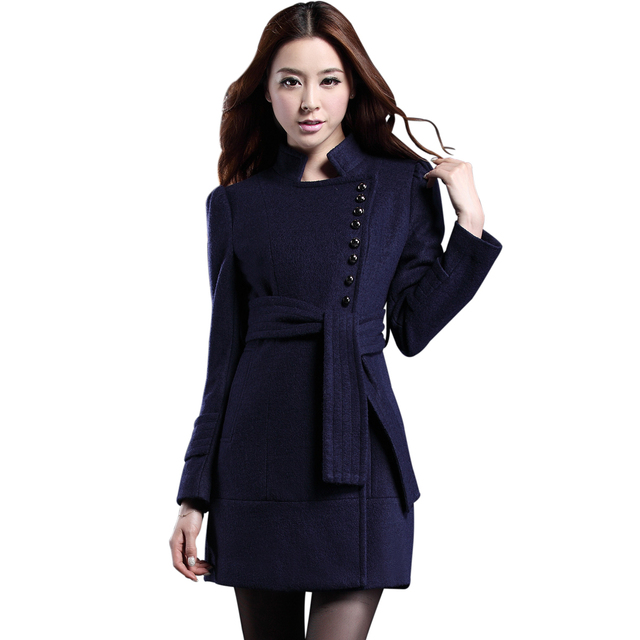 2013 spring and autumn fashion ol slim woolen overcoat female stand collar single breasted medium-long woolen outerwear