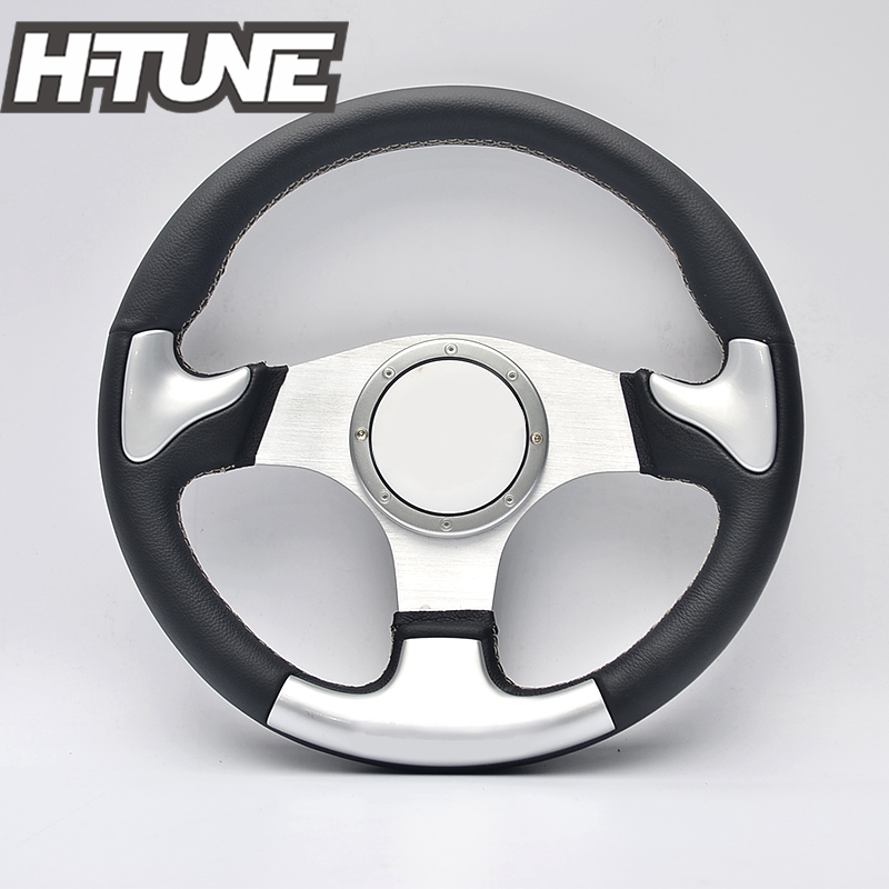H TUNE 350mm Flat Dish Real Leather Alloy Spoke Sport Racing Steering Wheel
