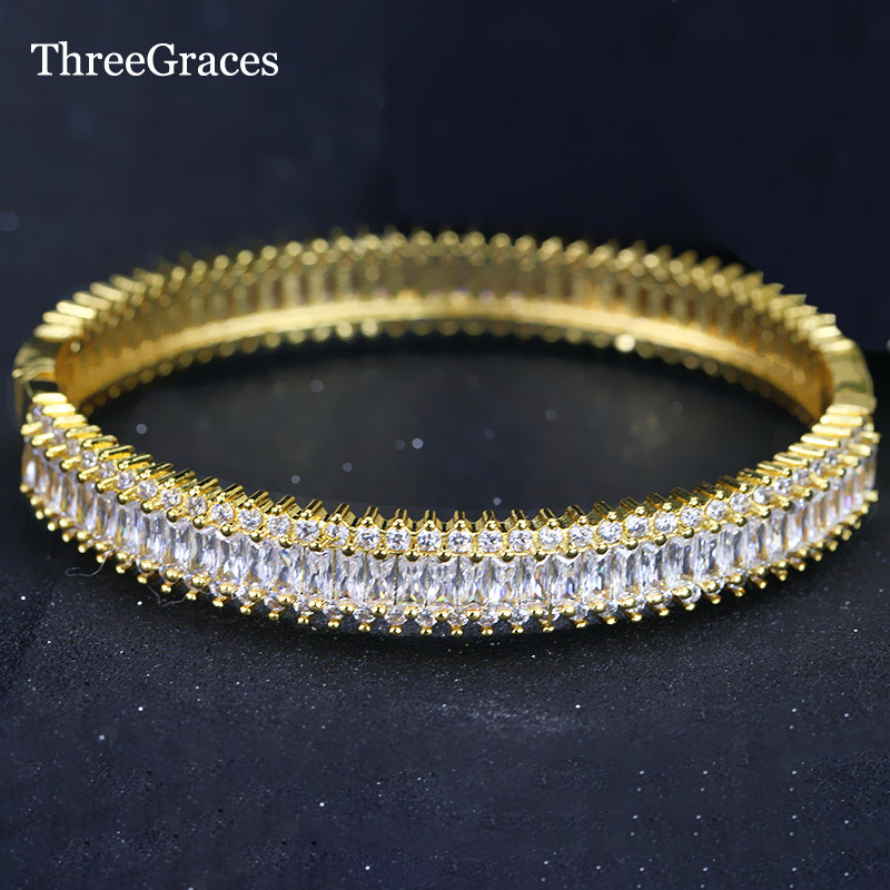 ThreeGraces Classic CZ Jewelry Top Quality Cubic Zirconia Stone Yellow Gold Color Wedding Bridal Bangles For Women BA010