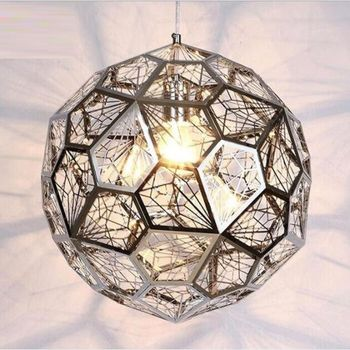 Modern Creativity Diamond Spherical Pendant Lamp Industrial Style Polyhedron Stainless Steel coffee Room restaurant Shop Light