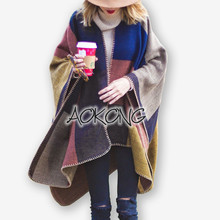 Scarf New Fashion Adult Color Block Blanket Women Poncho Cape Winter Check Grid Plaid Style Top Acrylic Stitch Coat Wraps(China)