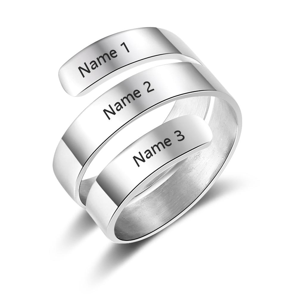 Clever Personalisierte Ringe Für Frauen 2 Farben Name Eingraviert Charme Diy Schmuck Für Hochzeit Geburtstag Geschenk Für Mutter ri103745 Spezieller Kauf