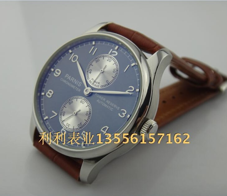 PARNIS 43mm blue dial Automatic Self-Wind movement power reserve men's watch Mechanical watches wholesale 126a