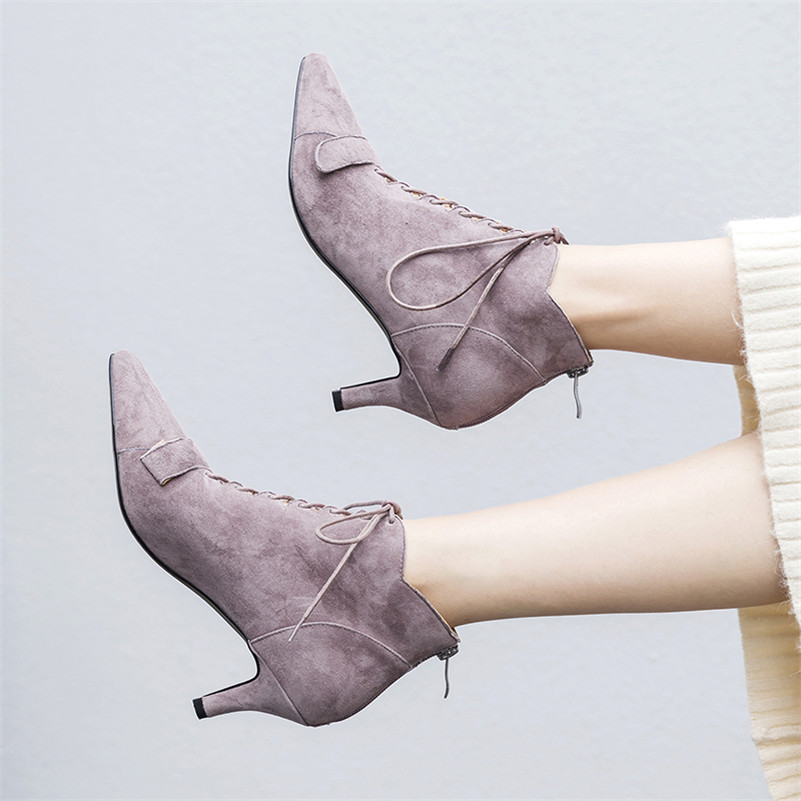 Otoño Martin Negro lavanda 1novedad Tobillo marrón Conasco Elegantes Invierno Cálidos Tacón Gamuza Botas De Mujer Alto Zapatos Cuero SXxpHn6A