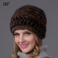 2018 New Natural Pattern Mink Fur Mink Winter Hat Women's Fashion Brand Casual Skullies Beanies Hat Female Hat BZ 12