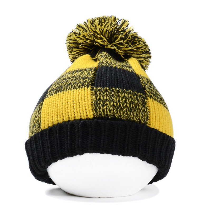 96b0f9f774c5bc 2016 New Fashion Winter Women Mens Yellow Red Blue Black Plaid Pom Knitted  Beanies Hats Free Shipping