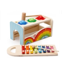 цена на Multi-function music beater early education wooden  boy female baby 1-3 years wooden math toys for children building blocks