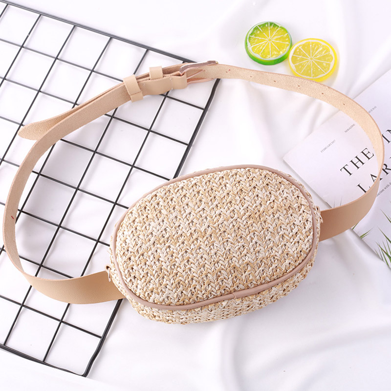 Rattan Oval Women Waist Bags Handmade Bohemia Straw Bag Designer Summer Beach Bag Mini Travel Fanny Pack Girl Chest Pack Purses