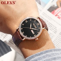 Men's Business Watch Automatic Calendar Brown Leather Watches Mens Luxury Luminous Male Wristwatch Diamond Mens Watches Saat erk