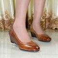 Zapatos de cuero genuino de las mujeres cuñas med talón bombea los zapatos de vestido para señora de la oficina zapatos de las mujeres 2016 nuevo diseño zapatos de las bombas 078-G8