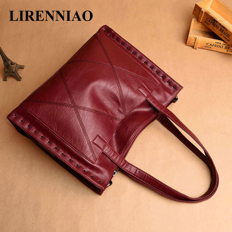 LIRENNIAO High Quality Leather Handbags Ladies Cow Leather Tote Hand Bags Female Designer Thread Shoulder Bags For Women