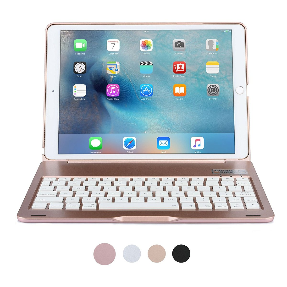 Pour étui à clavier iPad Pro 10.5, étui à clavier sans fil Bluetooth pour Apple iPad 10.5 A1701 A1709 étui pour tablette avec 7 rétroéclairage