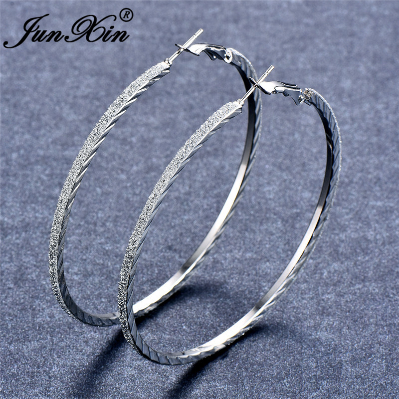 JUNXIN Personality Round Circle Big Matte Hoop Earrings For Women Silver Color Female Large Loops Earrings Minimalist Jewelry