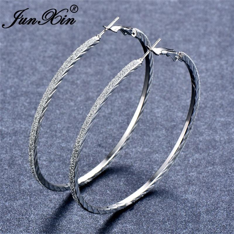 JUNXIN Personality Round Circle Big Matte Hoop Earrings For Women Silver Color Female Large Loops Earrings Minimalist Jewelry