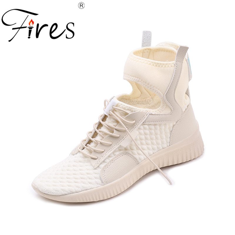 Fires Women Summer Sneakers Casual Shoes Flats Mesh Vulcanize Female Platform Shoes Ladies High Top Shoes Chaussure Femme igu sneakers women genuine leather shoes females platform shoes ladies flats harajuku punk shoes creeper girls chaussure femme