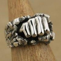 Ручной работы стерлингового серебра 925 мощный кулак разбивающий камень мужское байкерское кольцо TA77A