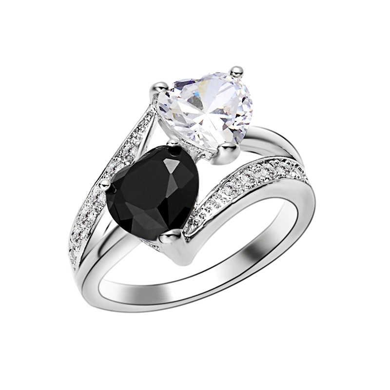 Fashion Black White Crystal Rhinestone Rings Cubic Zircon Female Zircon  Double Heart Rings For Women Party 8d7c273887ef